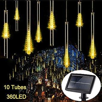 Luces de Lluvia de Meteoros Solares, KEEDA 30cm 10 Tubos 360LED Luz de lluvia Impermeable Decorativo Luces de cadena para Exterior Jardín Partido Boda Árbol de Navidad (Blanco Cálido) (Blanco Cálido): Amazon.es: