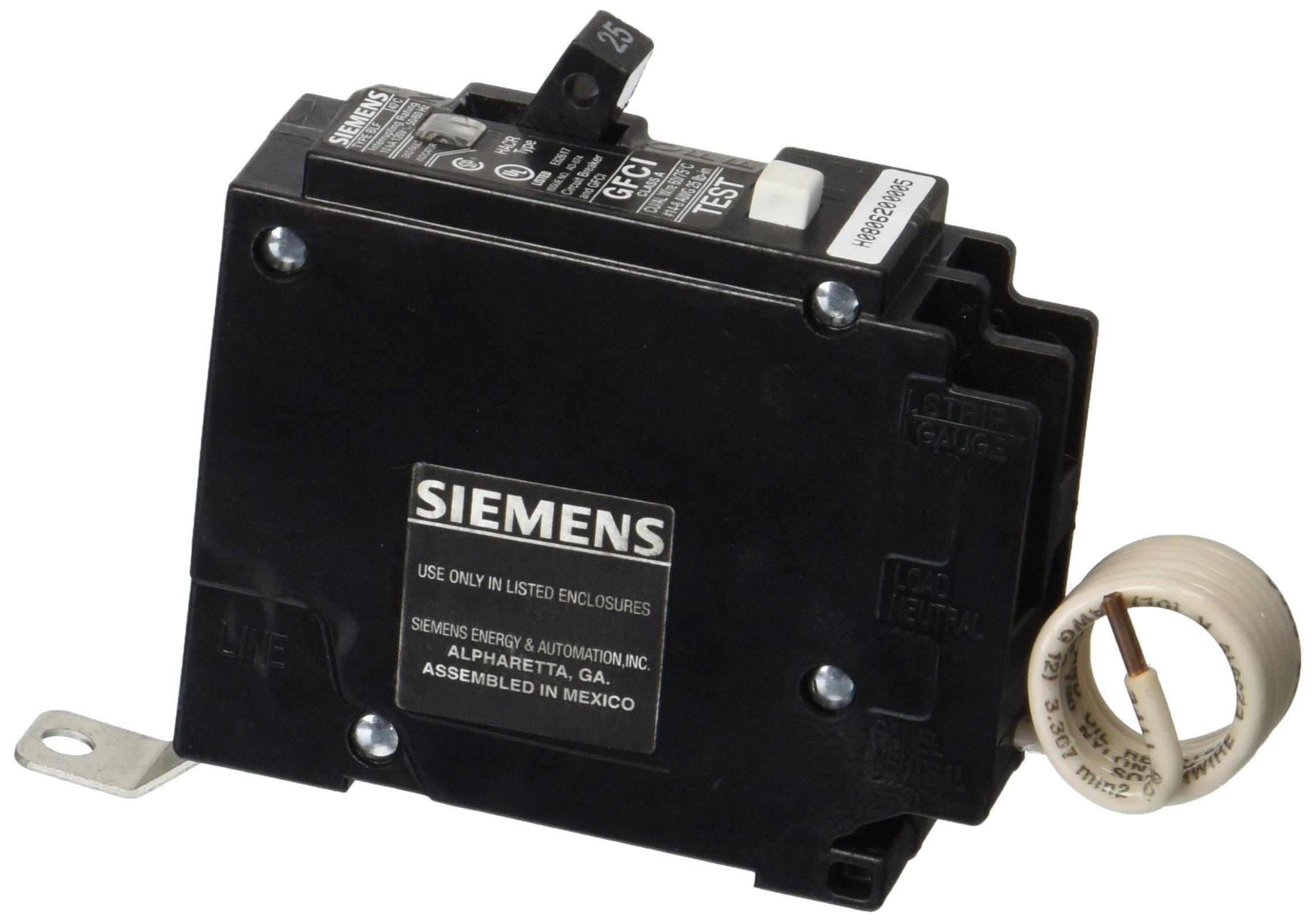 Siemens BF125 25-Amp Single Pole 120-Volt10KAIC Ground Fault Circuit interrupter