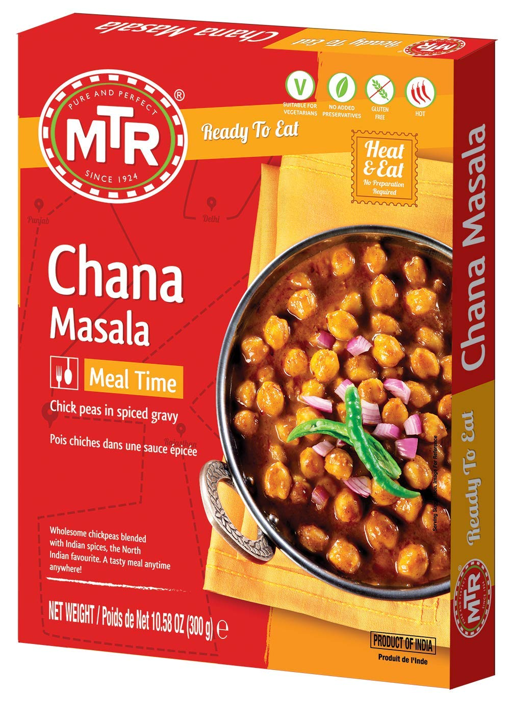 MTR Ready to Eat Chana Masala | Chickpeas in spiced gravy | Pack of 10 (10.58 Oz Each) |Authentic Indian Food | Hot Spicy |Just Heat and Eat | No Preparation | No additives | Gluten Free
