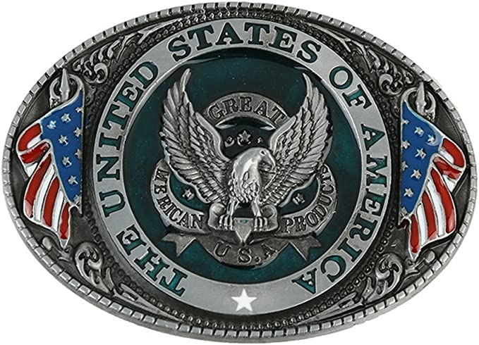 Western style New USA American flag eagle metal alloy fashion Men Belt.BuckRKUS