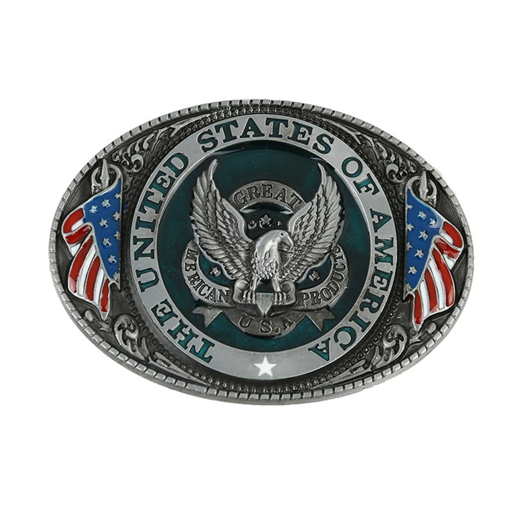 The United State of American Flag Belt Buckle Patriotic Eagle for 4th of July Party K109-D
