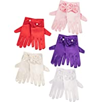 Zhanmai 5 Pairs Girls Silky Satin Fancy Gloves Wrist Length Princess Dress up Bows Formal Gloves for Age over 3 Years, 5…