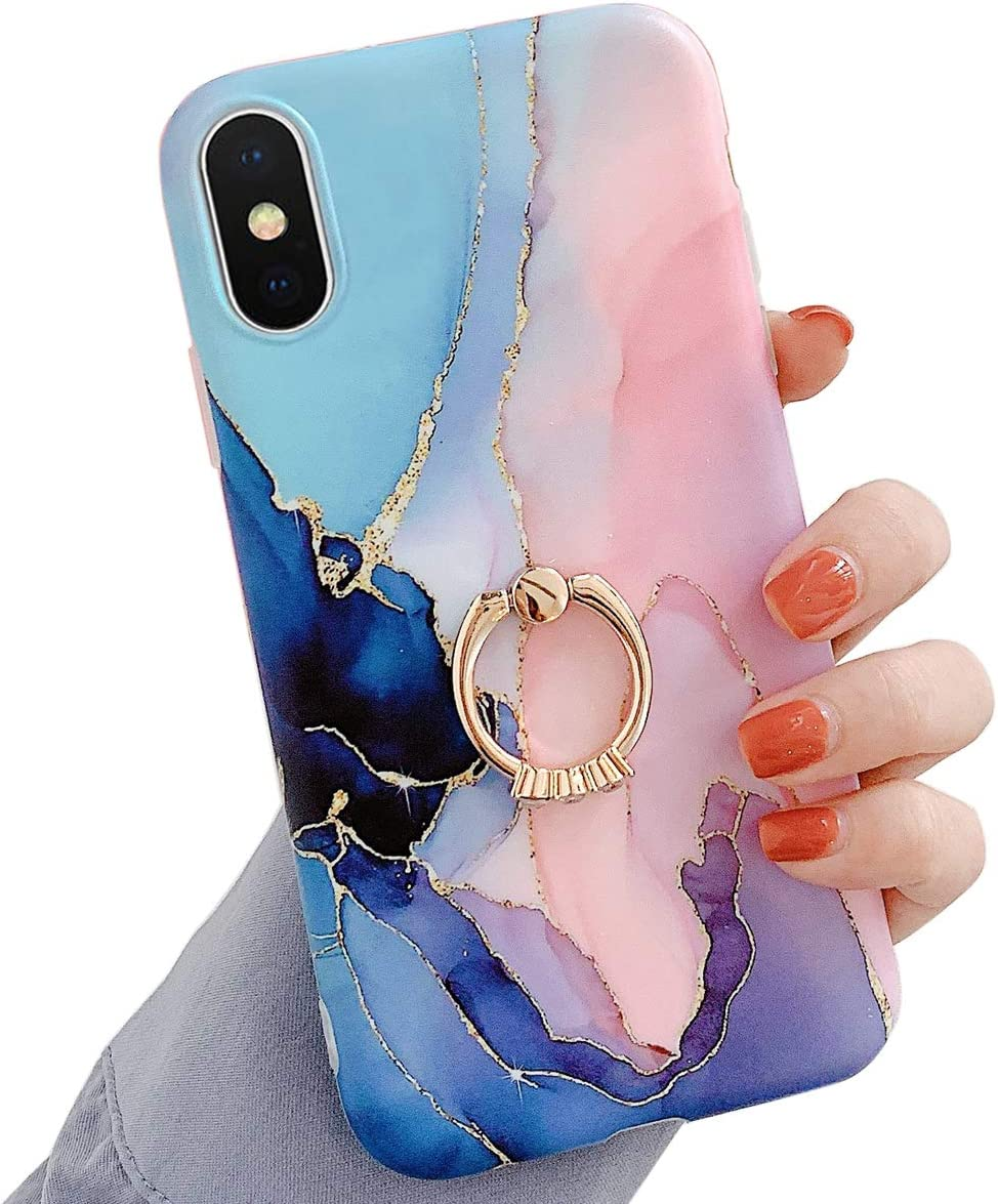 Qokey Compatible with iPhone Xs Max Case,Marble Case Cute Fashion for Men Women Girls with 360 Degree Rotating Ring Holder Kickstand Soft TPU Shockproof Phone Cover for iPhone Xs Max 6.5