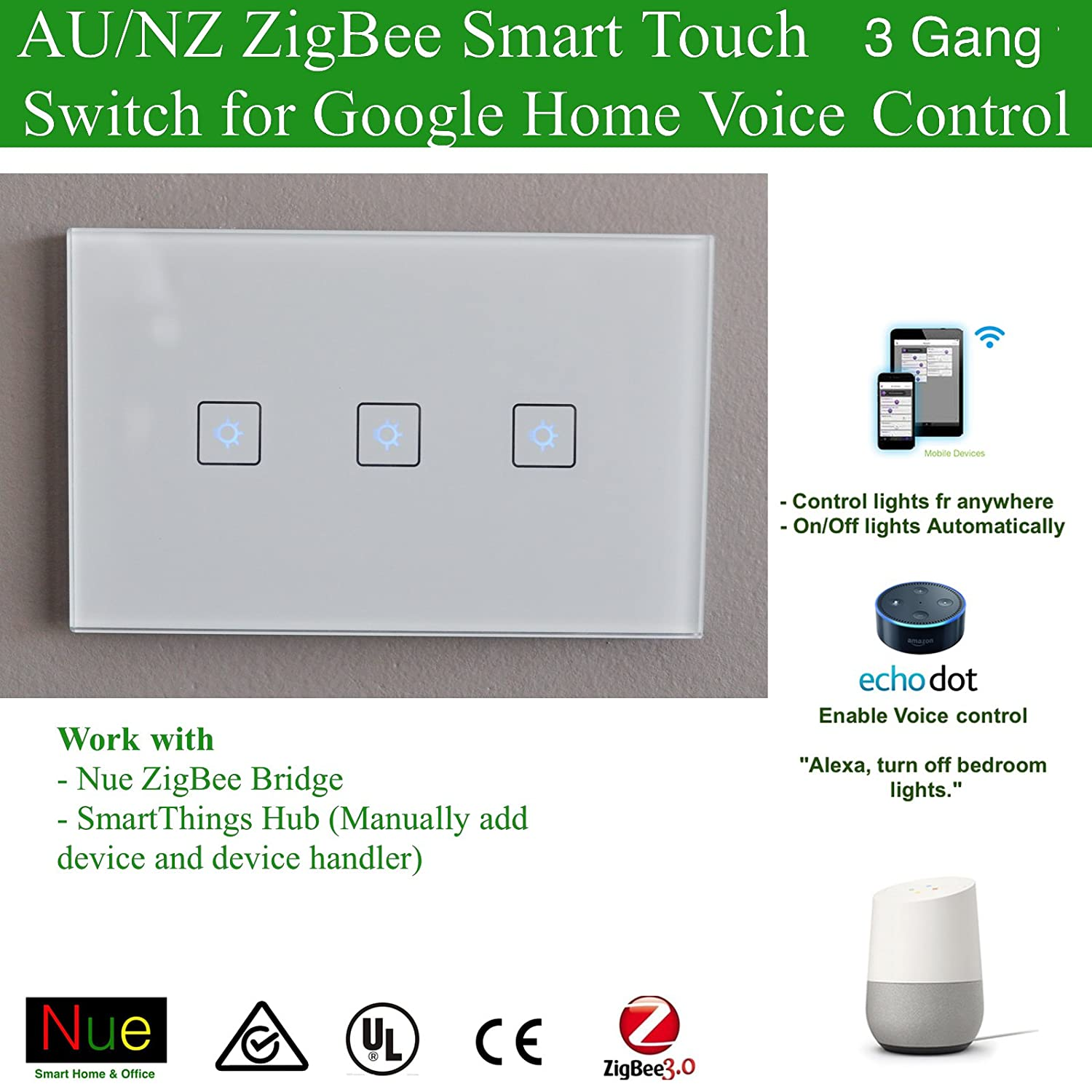 Smart ZigBee 2 Gang AU/NZ Approved Light Switch for Wireless Home ...