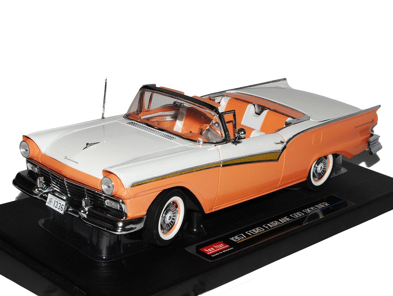 Sun Star Defektes Modell Ford Fairlane 500 Skyliner Cabrio Orange Braun Weiss 1957 DEF1853 1/18 Modell Auto