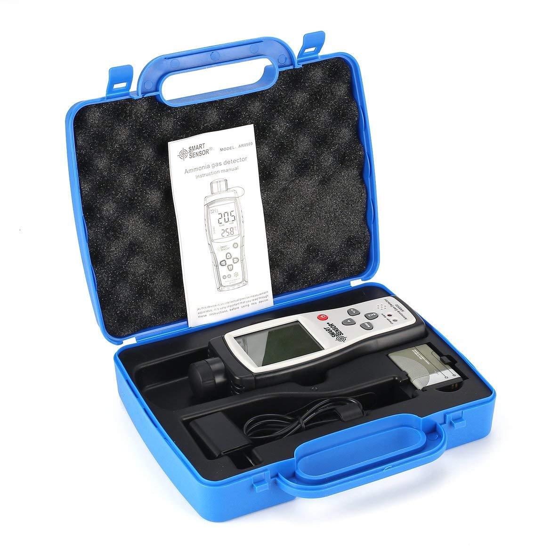 Smart Sensor AR8500 Monitor de calidad del aire Medidor de gas Amoniaco TEMP Analizador de detectores Probador portátil Termómetro de temperatura (negro y ...