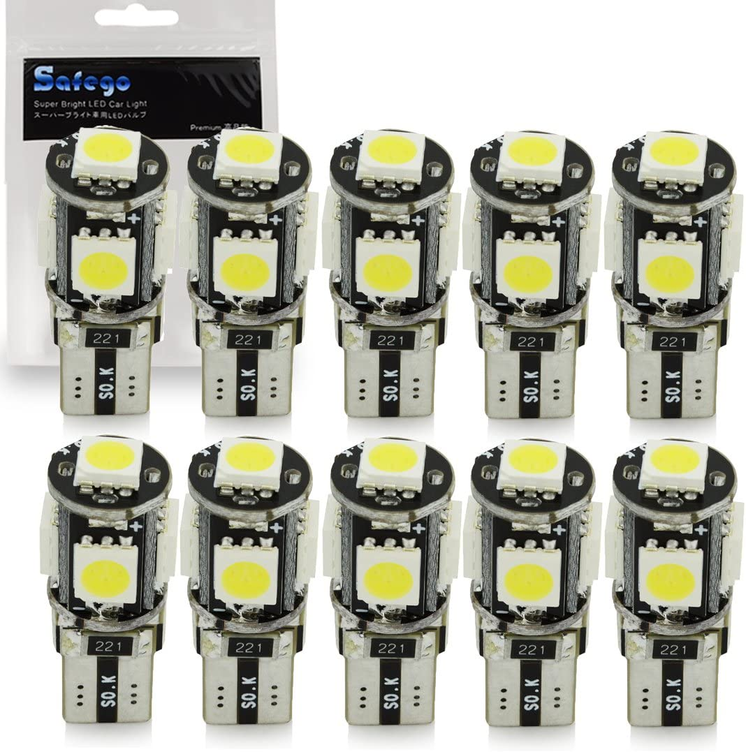 10x T10 W5W LED Bombillas exteriores 5 SMD 5050 Luz Coche trasera Lámpara Blanco Xenon Luz de interior T10 Wedge Lampara para Coches luces de la matrícula luces laterales 12V: Amazon.es: Coche
