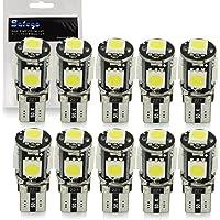 10x T10 W5W LED Bombillas exteriores 5 SMD 5050 Luz Coche trasera Lámpara Blanco Xenon Luz de interior T10 Wedge Lampara para Coches luces de la matrícula luces laterales 12V