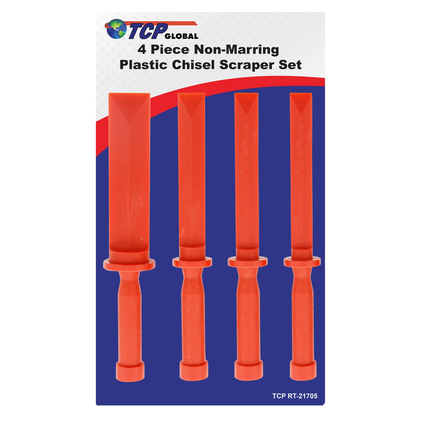 TCP Global 4 Piece Non-Marring Plastic Chisel Scraper Set - 3/4, 7/8, 1'', 1-1/2 Wide, Length 11''