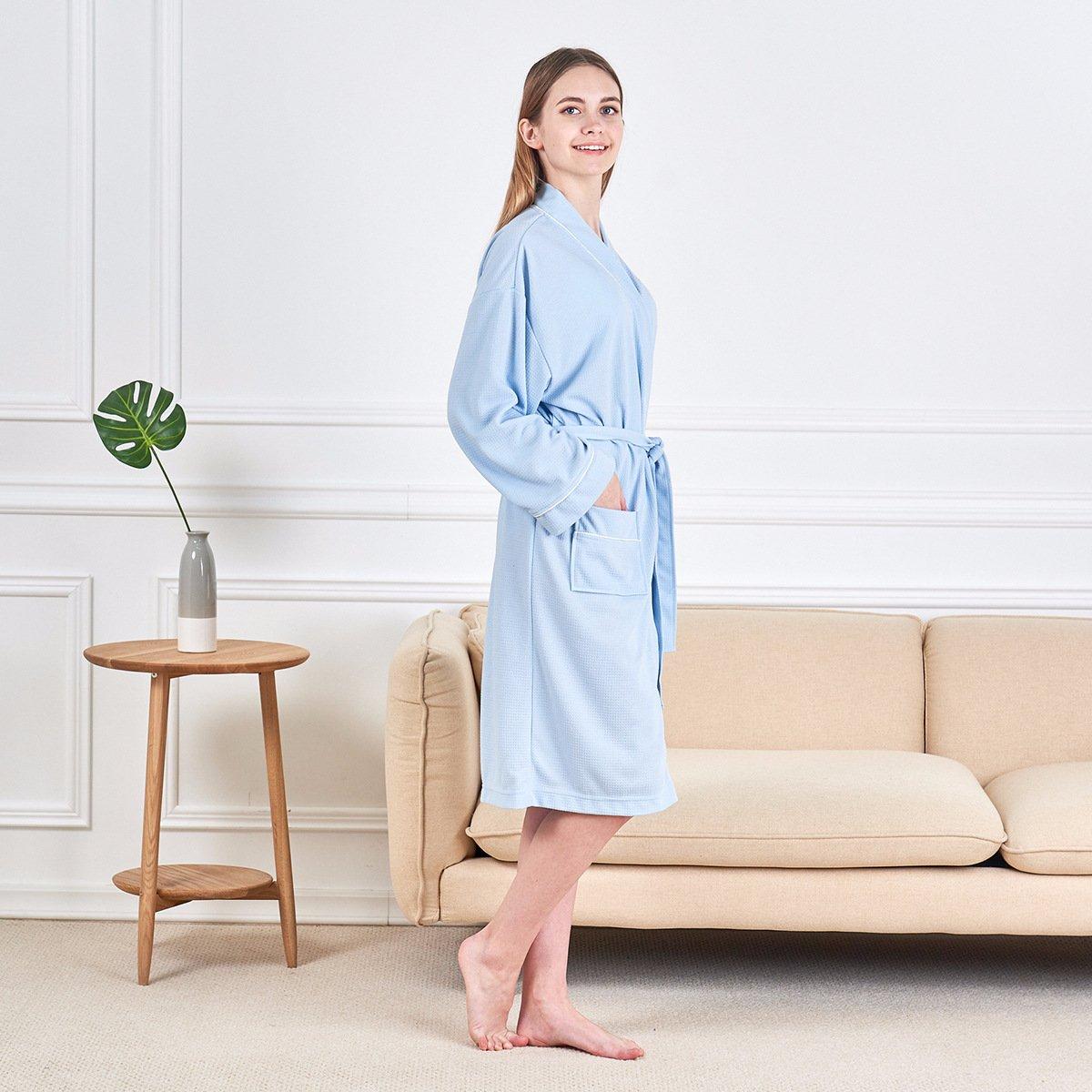 bda39d480c Amazon.com  Junebloom Women s Kimono Robes Cotton Soft Lightweight Waffle  Bathrobe Short Sleepwear  Home   Kitchen