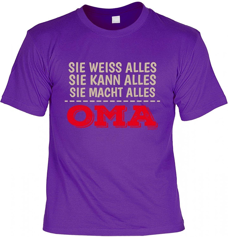 rohuf Design T-Shirt Grossmutter - Sie Weiss, Kann, Macht Alles - Oma - Geschenk  Idee mit Humor Zum Muttertag Omatag - Lila: Amazon.de: Bekleidung