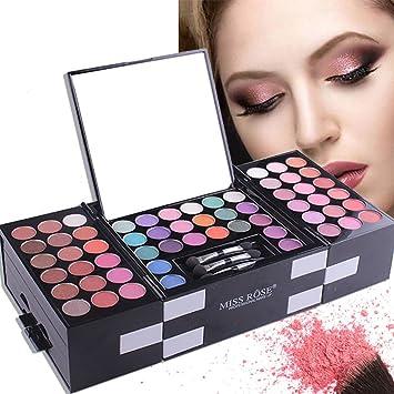 Paleta de sombras de ojos, Miss Rose 142 colores sombra de ojos paleta + 3 colores Colorete + 3 colores ceja polvo Set – todos en una larga duración luminoso kit de
