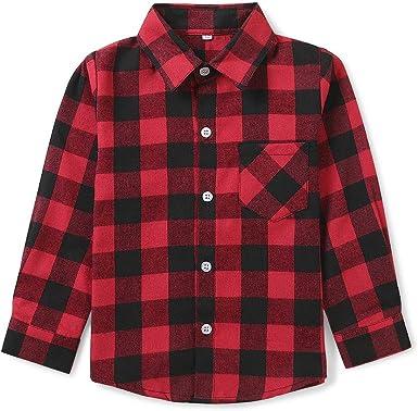 Phorecys Camisa de franela de manga larga con botones y ...