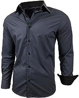 Baxboy Kontrast Business Anzug Freizeit Polo Slim Fit Figurbetont Hemd Langarmhemd R-44