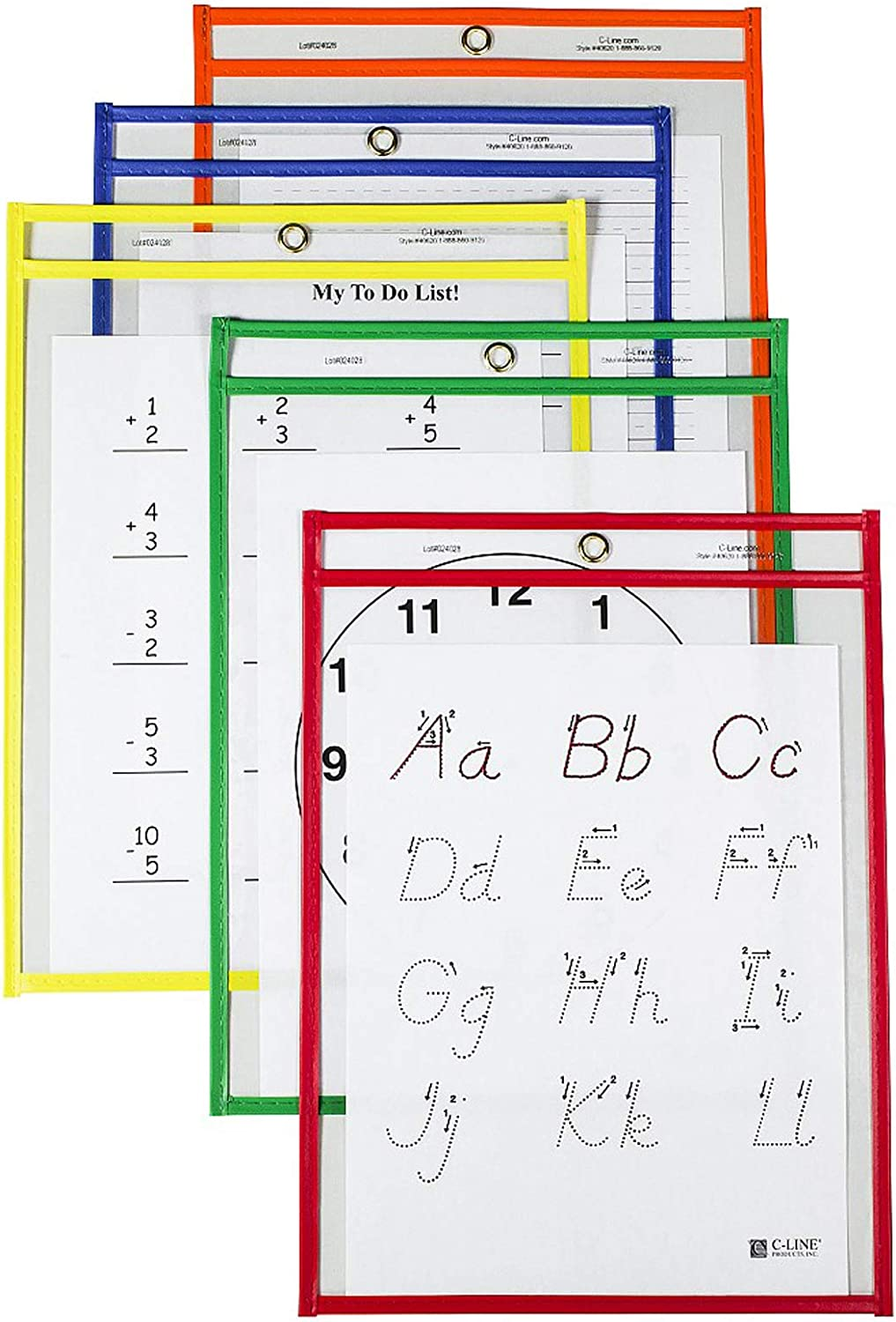 C-Line Reusable Dry Erase Pockets, 9 x 12 Inches, Assorted Primary Colors, 25 Pockets per Pack (40620)