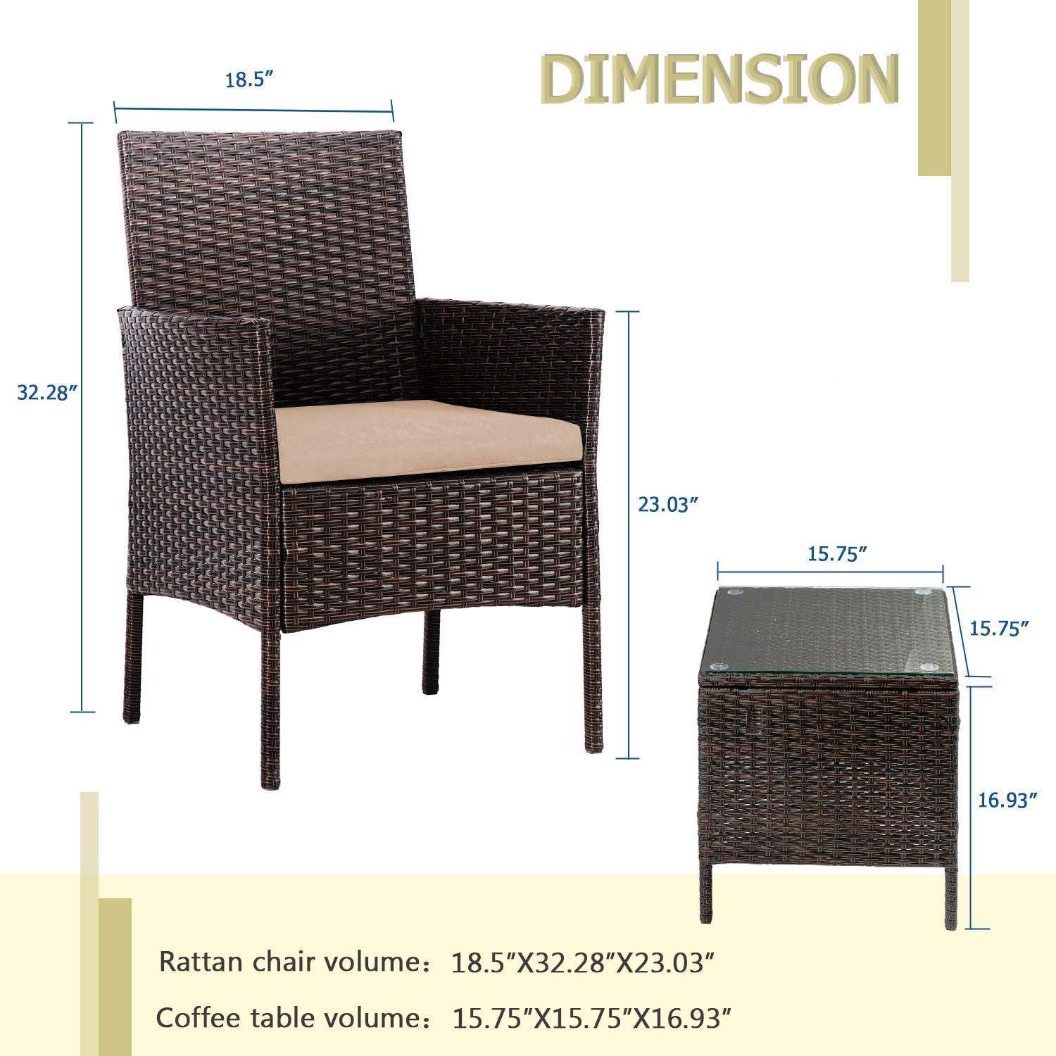 Brown Cushion Patiomore 3 Pieces Outdoor Bistro Set Cushioned Furniture Set PE Brown Wicker Patio Chairs with Coffee Table