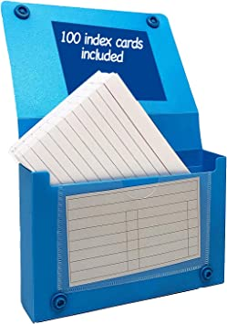 Index Card Case, 3x5 Inch Index Card Holder, Fits Up to 100 Cards Per Case Assorted Colors - With Heavy Weight Ruled Index Cards, 3