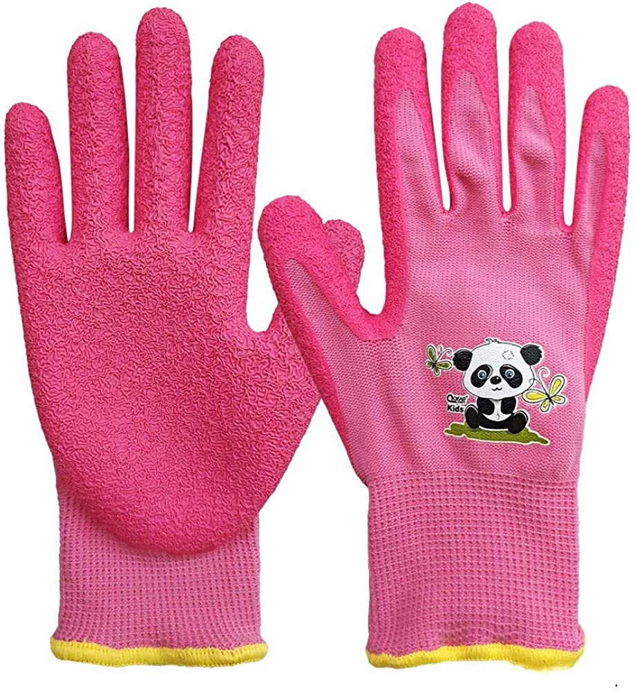 1 Pair Kids Garden Gloves,Knitted Elastic Liner,and Latex Rubber Coated Palm for Water/Dirty Resistance,Anti-slip