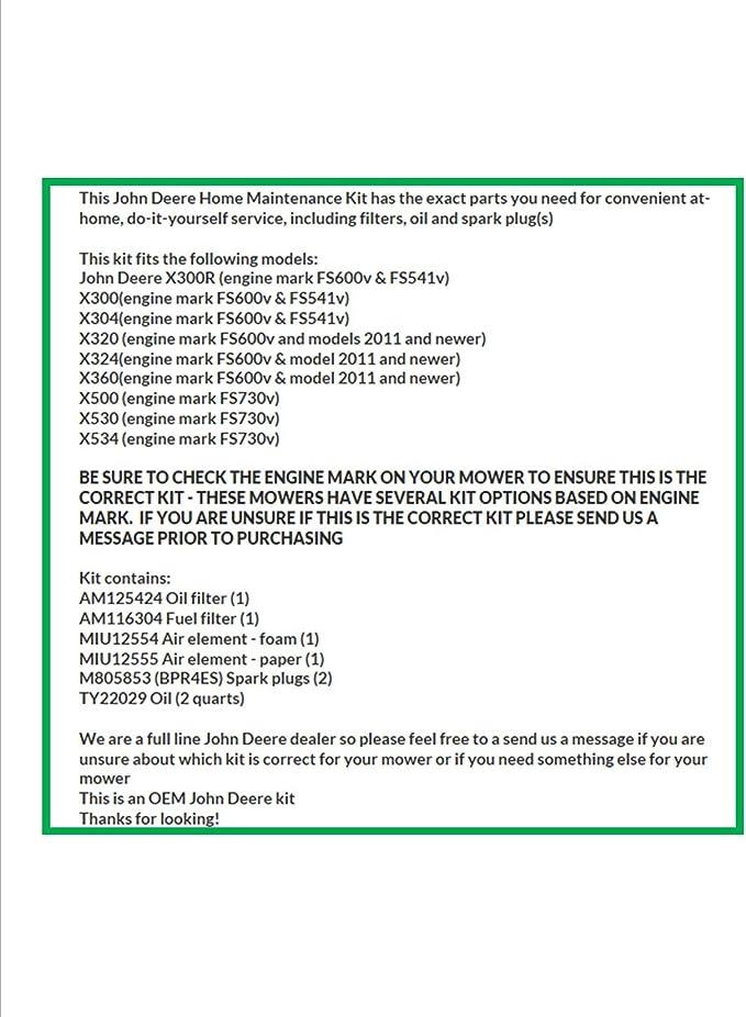 [DIAGRAM_0HG]  Amazon.com : John Deere Maintenance Kit X300, X320, X324, X360, X500, X530,  X534, Filters, Oil Spark Plugs, LG265 : Garden & Outdoor | John Deere X534 Engine Schematics |  | Amazon.com