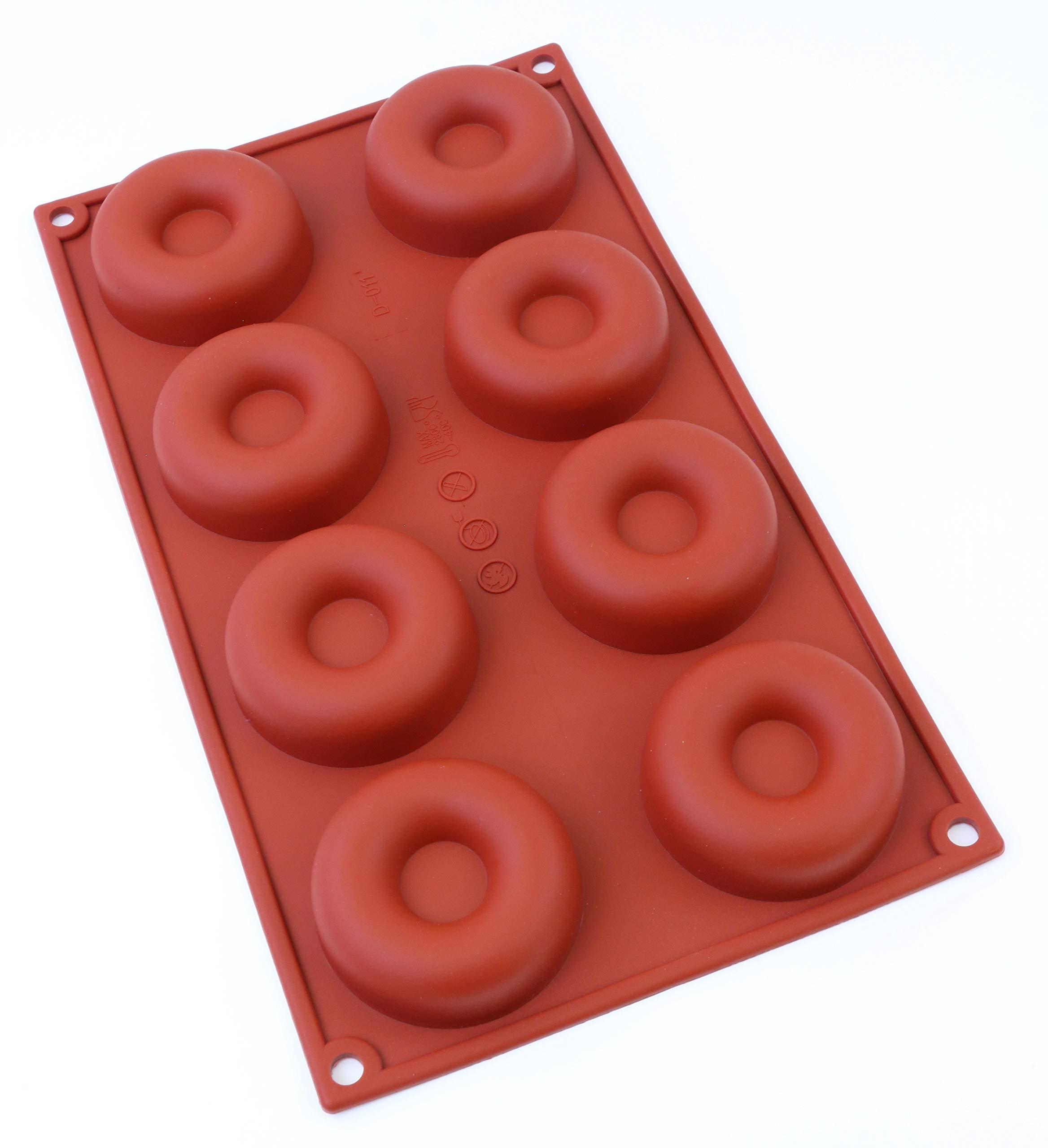 Oggibox 8-Cavity Savarin Silicone Mold for Donut/Cake/Bread/Cupcake/Cornbread Muffin Cups Donut Pan PACK OF 2 (2)