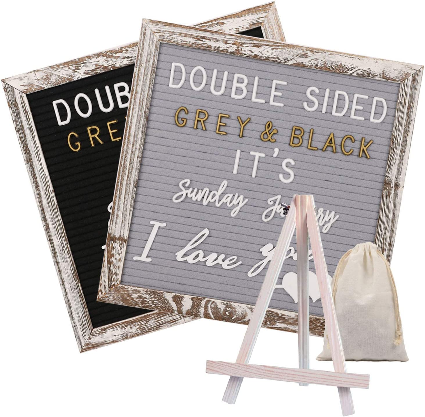 Awefrank Double Sided Felt Letter Board with 750 Pre-Cut Gold & White Letters, Months & Days Cursive Words, Numbers, Emojis, Tabletop Display, Letter Bags, Rustic Stand