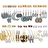 36 Pairs Boho Vintage Drop Dangle Earrings Set for Women Girls Fashion National Style Hollow Turquoise Moon Shaped Statement