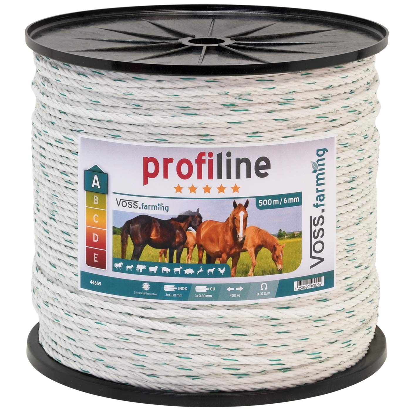 Profi Weidezaun Seil 500m 6mm, 3x0,30 Kupfer + 3x0,3 Niro, weiß-grün 4**** weiß-grün 4**** VOSS.farming