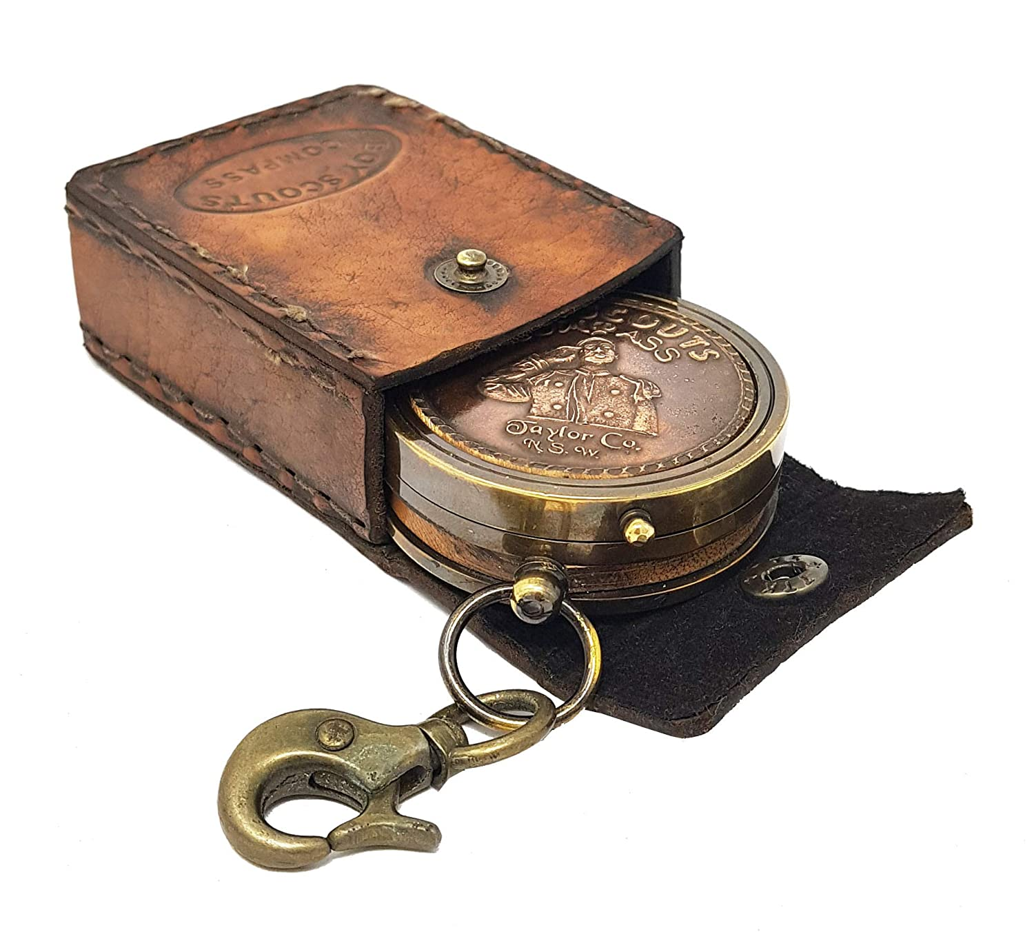 in Leather case Emergency and Outdoor Survival Camping for Hiking American Boy Scout Compass W//Scout Oath Brass Nautical Backpacking
