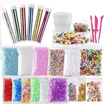Slime Kit,30 Pack Kit para Hacer Slime con Perlas de Espuma de Poliestireno Bolas