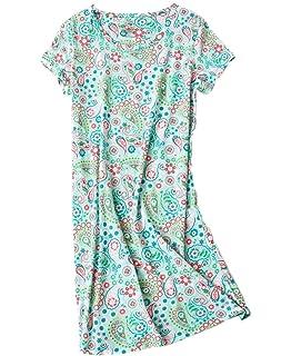 4d920e1721 PNAEONG Women s Nightgowns Short Sleeves Cotton Sleepwear Print Sleep Shirt