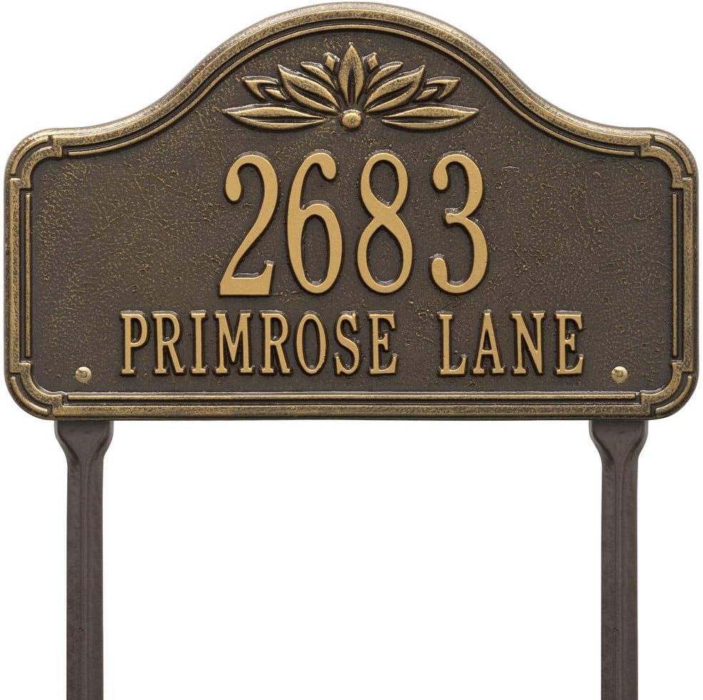 Whitehall Decorative Arch Address Plaque - Standard Lawn (Lawn - Two Line, Bronze/Gold)