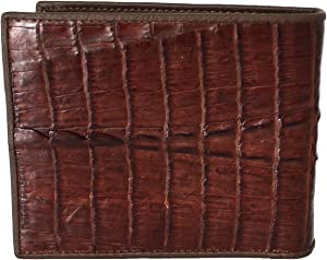 Authentic River Crocodile Skin Men's Bifold Crocodile Tail Brown Wallet