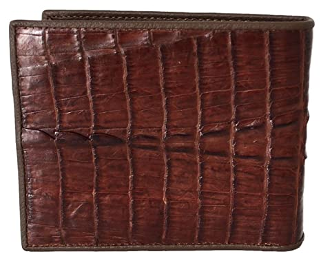a66eaded6 Authentic River Crocodile Skin Men's Bifold Crocodile Tail Brown ...