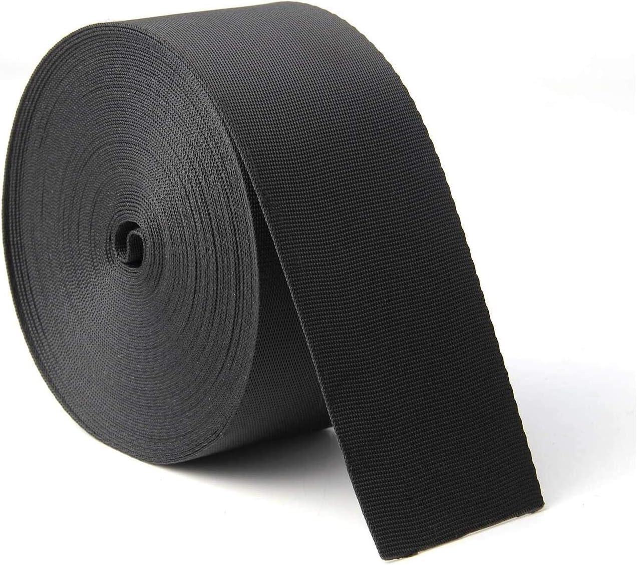 JIAKAI 2 Inch Wide 10 Yards Nylon Heavy Duty Webbing Strap,Polypropylene Heavy Straps for Bags, Hammocks, Outdoor Climbing and DIY Making Luggage Strap, Pet Collar, Backpack Repairing (Black)