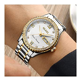 40f0c2bdd OLEVS Luxury Watches for Men Business with Diamond Crystal Gentleman  Wristwatches, Classic Gold/Black