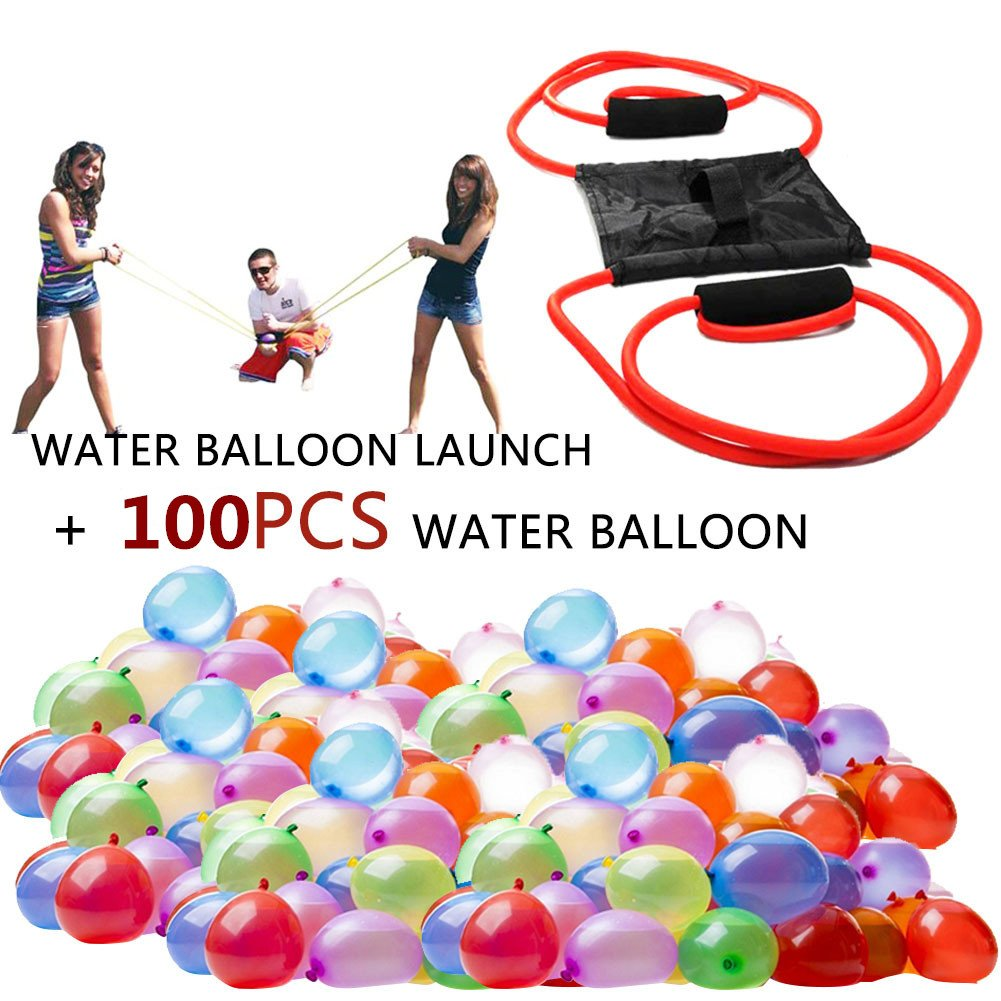 Tino Kino 3 Person Water Balloon Launcher with 100 Water Balloons, Cannon / Slingshot Fun Water Balloon Fight Pool Party Toy Outdoor Game for Kids and Adults