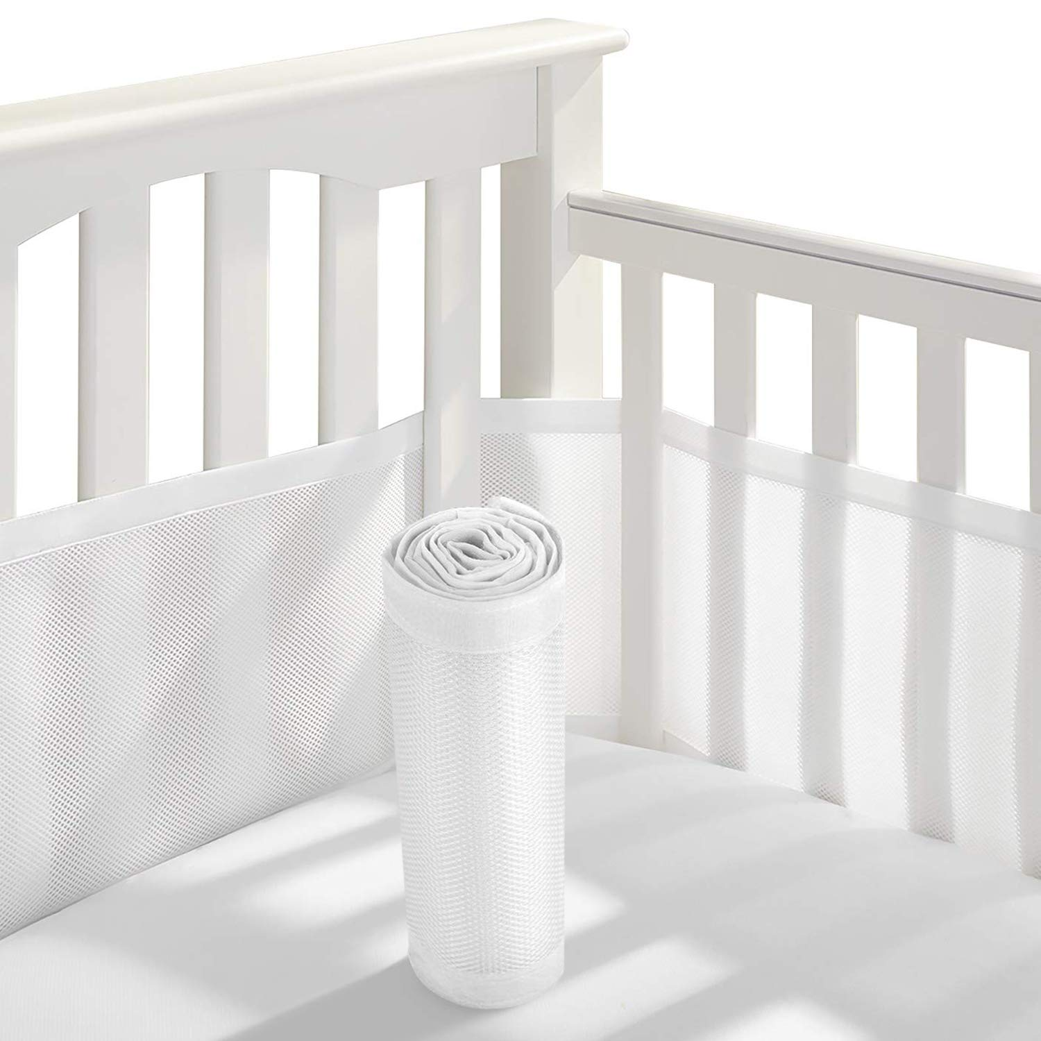 Baby Crib Bumper,Classic Breathable Mesh Crib Liner,2 Pieces/Set (White) by Wooce