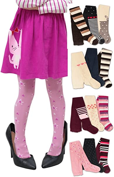 Kids Girls Cotton Footless Ankle Length Tights Soft Stretchy 5 Pair Pack