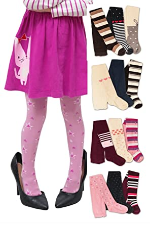 f6cc9935704b70 Tights for Girls Cotton 3 Pack Leggings - Age 6 Mth to 6 Yrs -  pureLOVEforsale - Multicoloured - 3-4 Years: Amazon.co.uk: Clothing