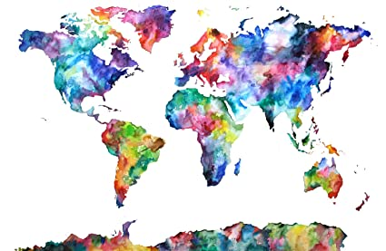 Love st. Paper World Map Artistic Poster 12x18 inch (Multicolour