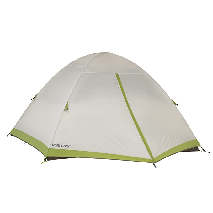 3. Kelty Salida Camping and Backpacking Tent – Home away from home The Kelty Salida Camping and Backpacking Tent is a four-person design tent. It has a solid build which allows fitting three people super easy. However, with four campers, there will be little room for your gear.  It comes with a color-coded clip which makes setting up easy at the first time of asking. The Kelty Salida Camping and Backpacking Tent have a tub floor made of durable, water-resistant materials. You are super protracted from getting wet.  All seams are tapped, hence reducing the likelihood of leaks. It is suitable for use under high winds and a moderate amount of rainfall. It has a freestanding design, setting up and unpacking is easy and fast. This tent can stand alone without stakes, and using two poles you can set it up in under 5 minutes. It is by far the easiest tent to assemble and dismantle. It does not come with a footprint, and this is likely a means of driving the cost down.  If you are used to the conventional storage bags on other tents, you might find the one on the Kelty Salida Camping and Backpacking Tent a little different, but it is super easy to detach and return the tent to it.   Pros  Quality materials  Dry inside Easy to set up and disband  Cons  Zippers are clumsy Limited headroom space Weak poles  Does not come with a footprint