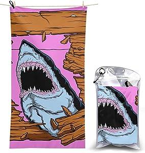 Myleiture Microfiber Beach Towel, Shark Print Quick Fast Dry Towel Blanket Sand Free Soft Absorbent Lightweight Bath Towels for Beach, Bath, Swim, Travel