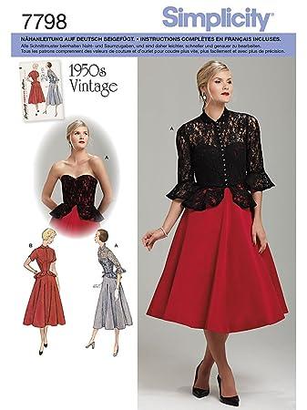 Simplicity Schnittmuster 7798.H5 Kleid - Vintage (1250): Amazon.de ...