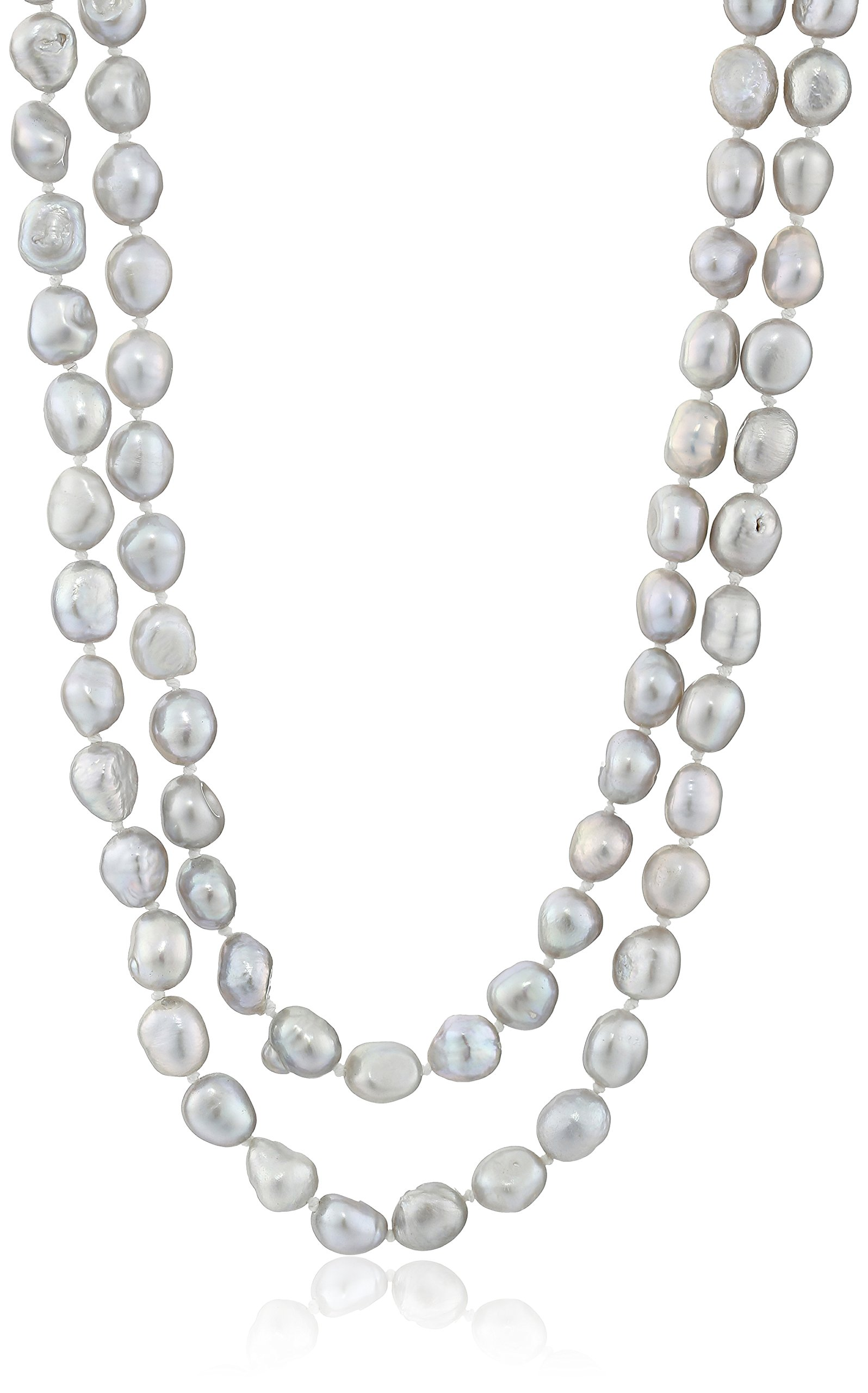 6-7mm Dyed Silver Gray Baroque Freshwater Cultured Pearl Endless Necklace, 50''