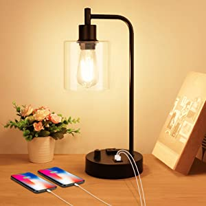 Industrial Table Lamp, Stepless Dimmable Vintage Bedside Nightstand Lamp with 2 USB Ports and AC Power Outlet, Glass Shade Farmhouse Lamp for Bedroom Living Room Office, LED Bulb Included