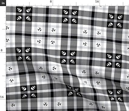 Amazoncom Spoonflower Gas Mask Plaid Fabric Punk Survivalist