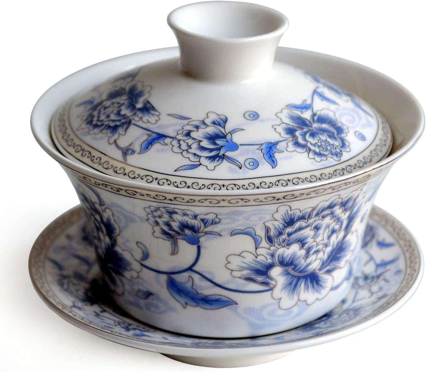 Chinese Porcelain Teacups 6.7oz Gaiwan Flower Tureen Tradition Sancai Cover Bowl Lip Cup Saucer Tea Set for Dry fruit Loose tea Espresso 200ml Blue silk peony