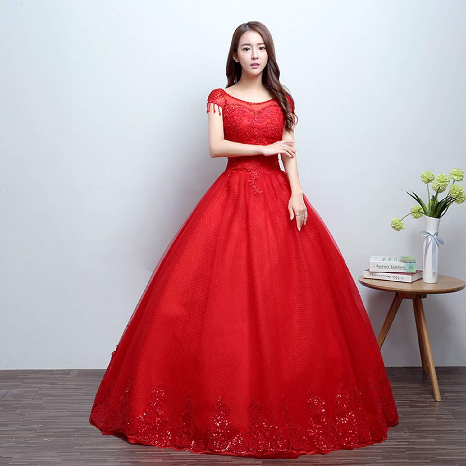 Sweetheart Fluffy Wedding Dresses for Bride Red Fashion Floor Length Dresses for Women Ladies Ceremony Party Special Event Use,Gift