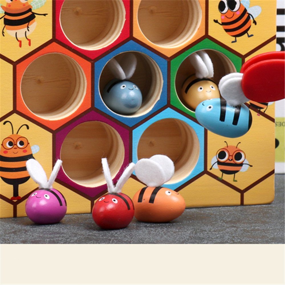 Moonio Wooden Lovely Bee Picking Toy Catching Practices for Baby Early Educational Toddler Montessori Game Colorful Beehive Box by Moonio (Image #5)
