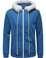 Hanxue Men's Winter Warm Full Zip Eco Sherpa Fleece Hoodie